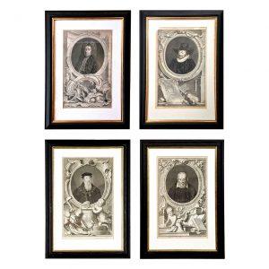 Set of Four 18th Century Dutch Prints of British Noblemen, by Jacobus Houbraken