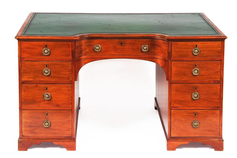 1183 19th Century Bowfronted Mahogany Pedestal Desk O 39 Sullivan Antiques Nyc