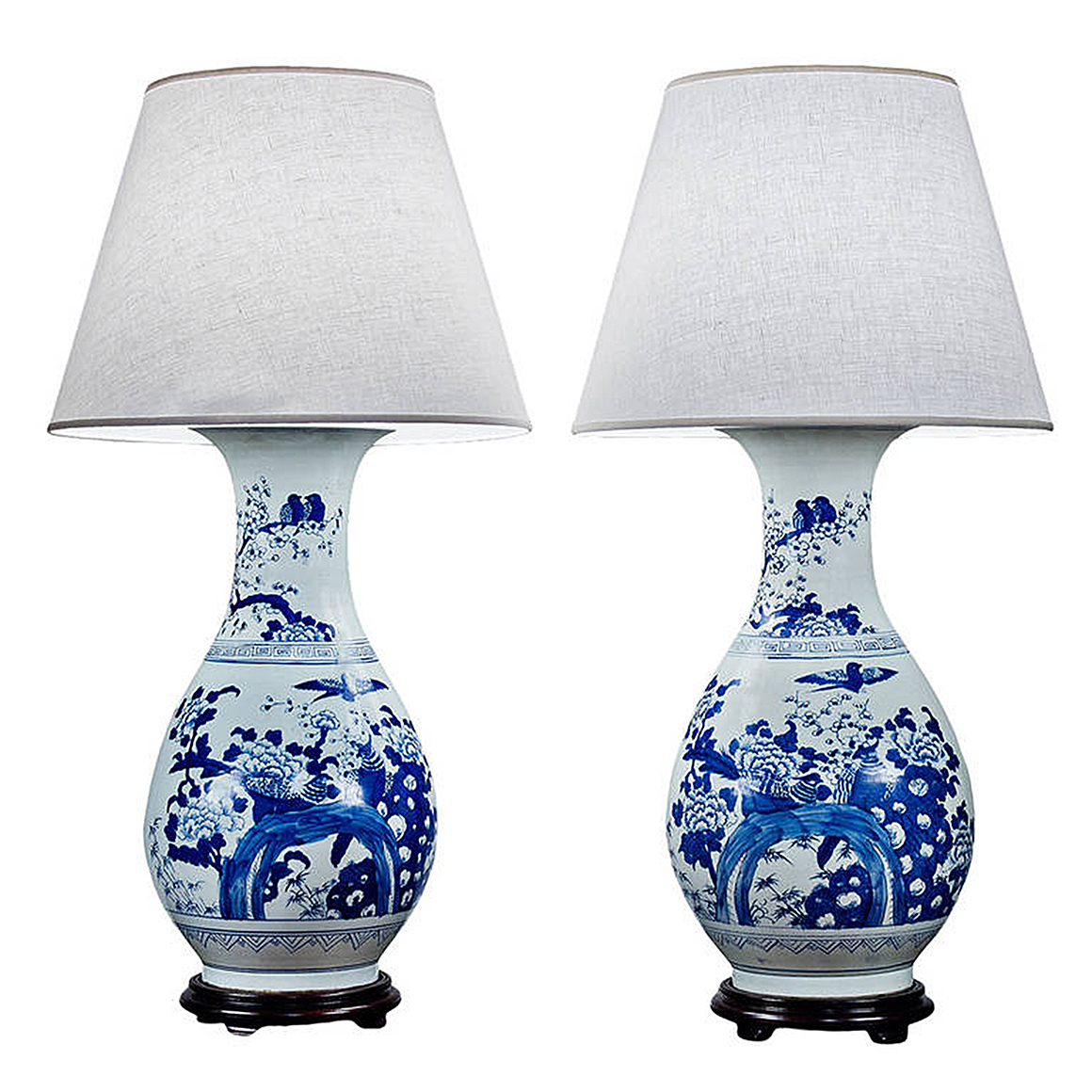 2828 pair of large chinese blue and white porcelain. Black Bedroom Furniture Sets. Home Design Ideas