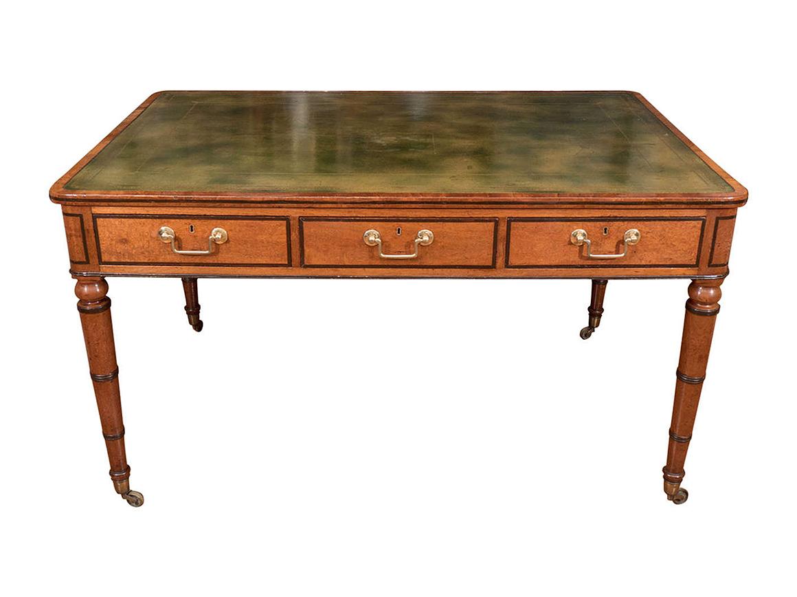 2902 Early 19th Century Regency Leather Top Mahogany Partners Desk O 39 Sullivan Antiques Nyc