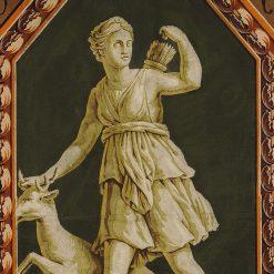 Pair of French Hand Blocked Wallpaper Panels Depicting Greek Gods