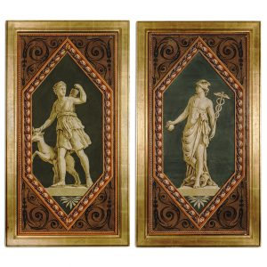 Pair of French Hand Blocked Wallpaper Panels Depicting Greek Gods