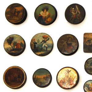 Set of 24 Painted Papier Mache and Metal Snuff Boxes