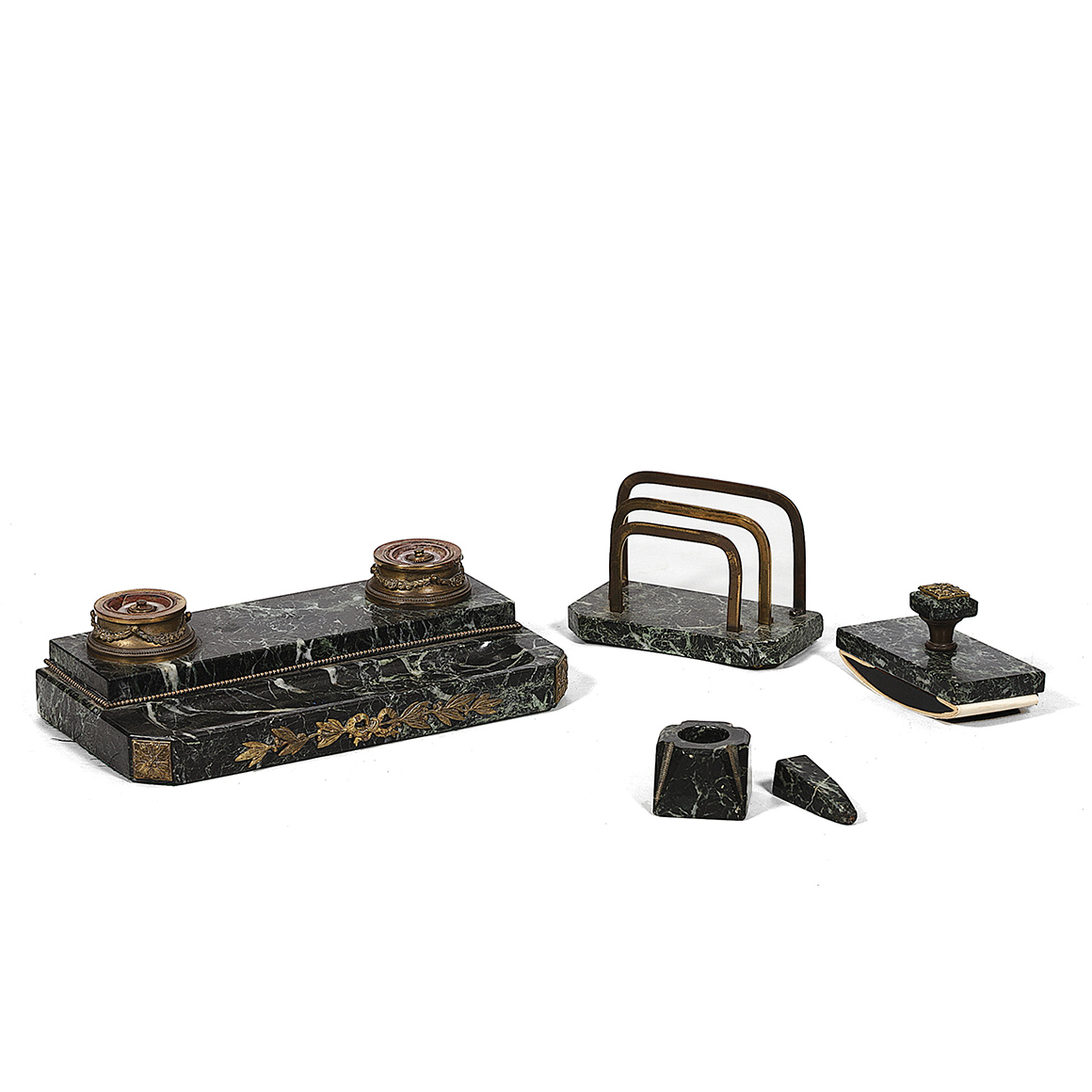 Home Decorative Objects Other 3040 19th Century Bronze And Marble Writing Desk Set