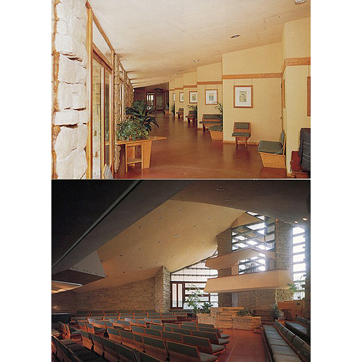 Frank Lloyd Wright Benches and Table from Wright's 1951 Unitarian Church