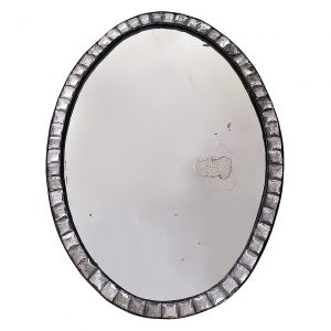 18th Century Irish Clear Cut Glass Oval Mirror