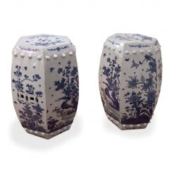 Pair of Chinese Hexagonal Blue and White Garden Seats