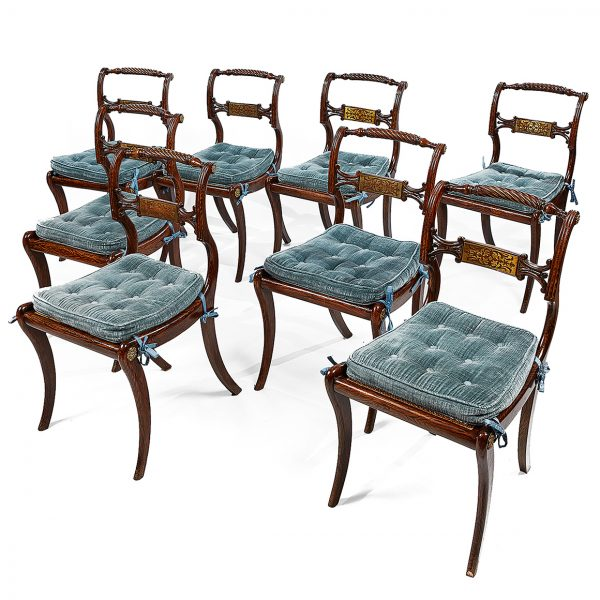 Set of Eight Irish Regency Sabre Leg Dining Chairs