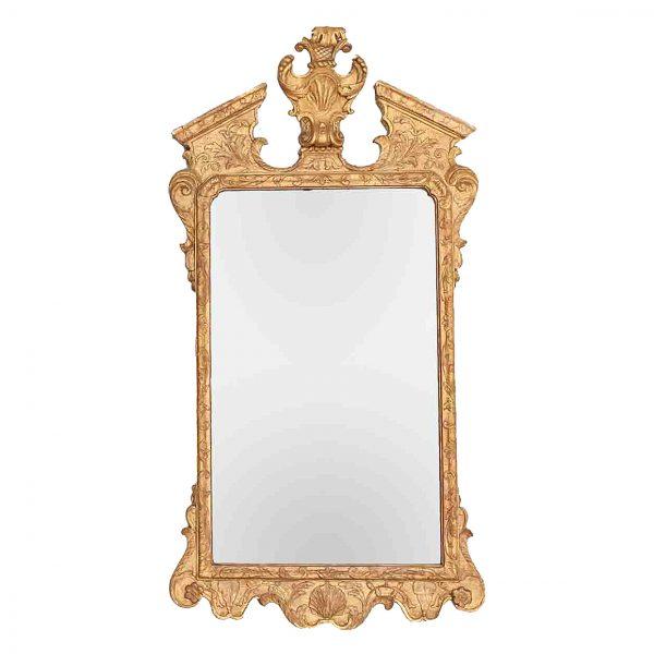 18th Century Irish Georgian Gilt Broken Pediment Mirror