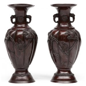 19th Century Pair of Japanese Meiji Period Bronzed Vases