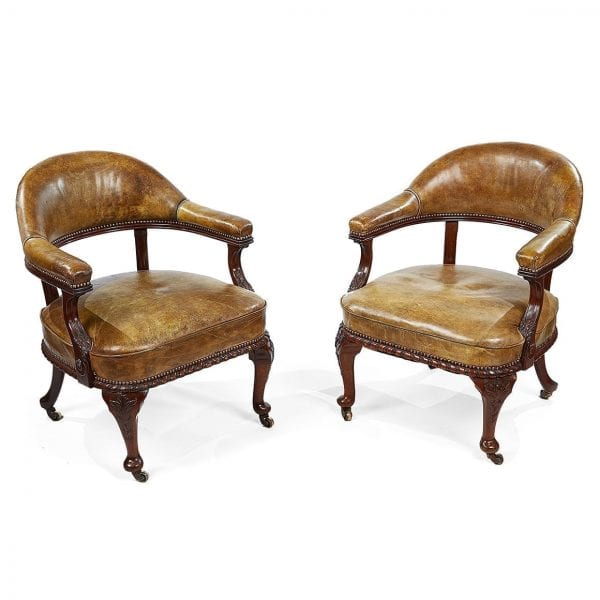 Superb 3097 Pair Of 19Th Century Mahogany Desk Chairs By Morrison Caraccident5 Cool Chair Designs And Ideas Caraccident5Info
