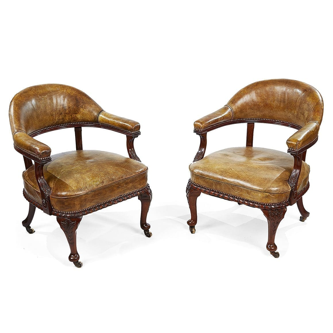3097 Pair Of 19th Century Mahogany Desk Chairs By Morrison