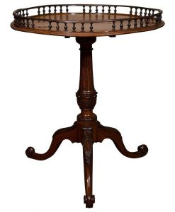 18th Century English Mahogany End Table with a Galleried Top