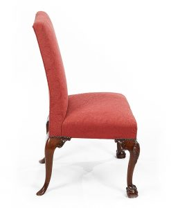 Pair of 19th Century Upholstered Side Chairs with Ball and Claw Feet