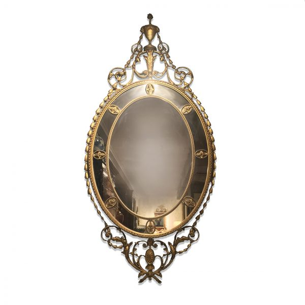 19th Century Irish Gilt Oval Mirror with an Urn and Rams Heads