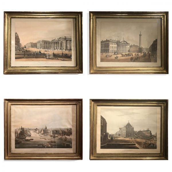 "Set of Four Early 19th Century Prints ""Views of Dublin"" after Drawings by T.S. Roberts"