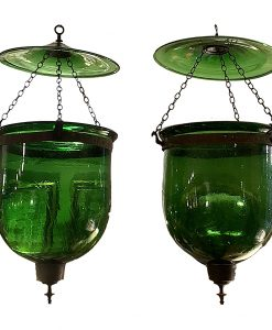 Pair of 19th Century Anglo Indian Hand Blown Green Glass Hanging Bell Jar Lanterns