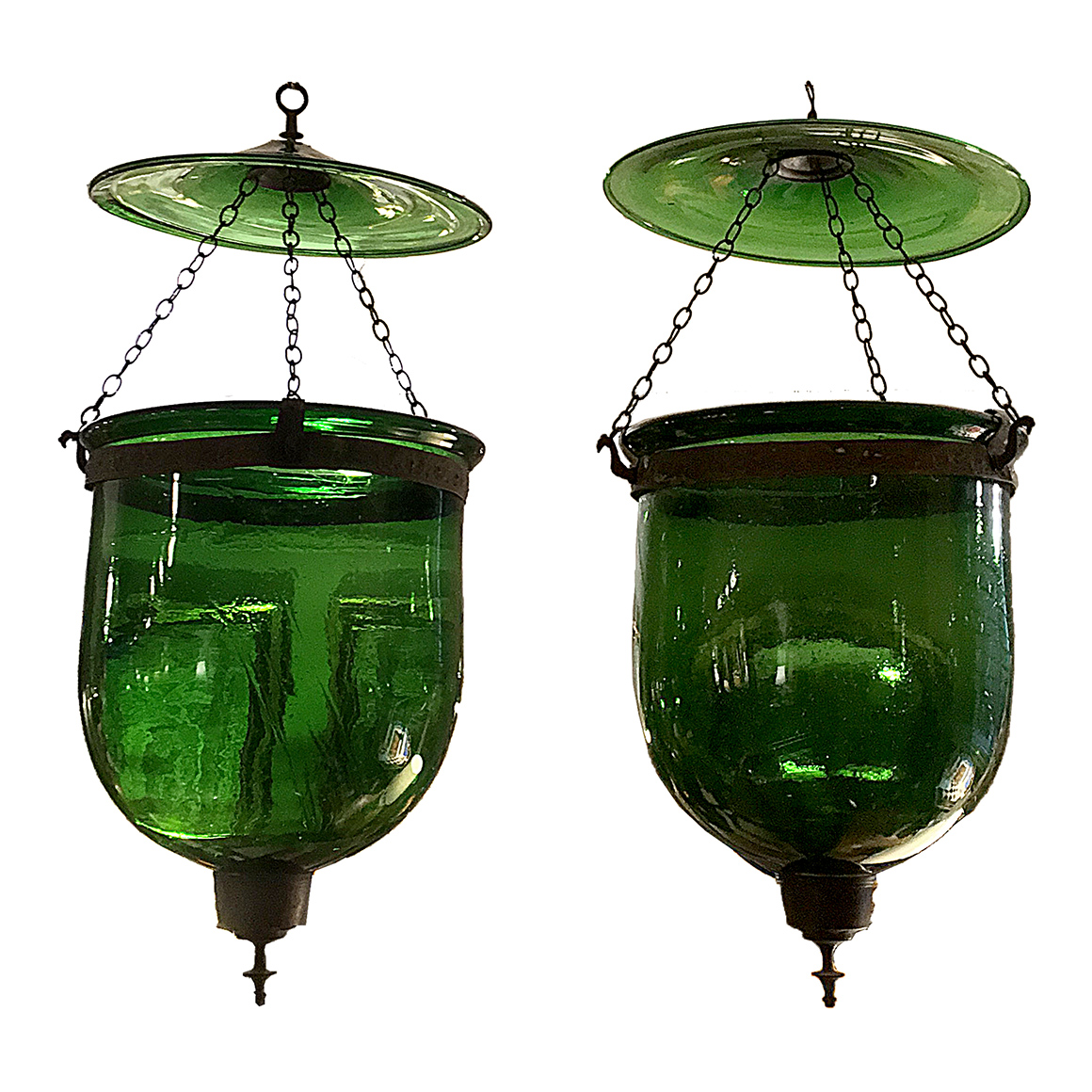 3154 Pair Of 19th Century Anglo Indian Hand Blown Green Glass Hanging Bell Jar Lanterns O Sullivan Antiques Nyc