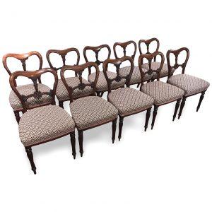 Set of Ten Irish William IV Dining Chairs by William & Gibton