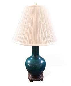 Single Chinese Tianquiping Vase on Carved Wooden Base, Wired as a Lamp