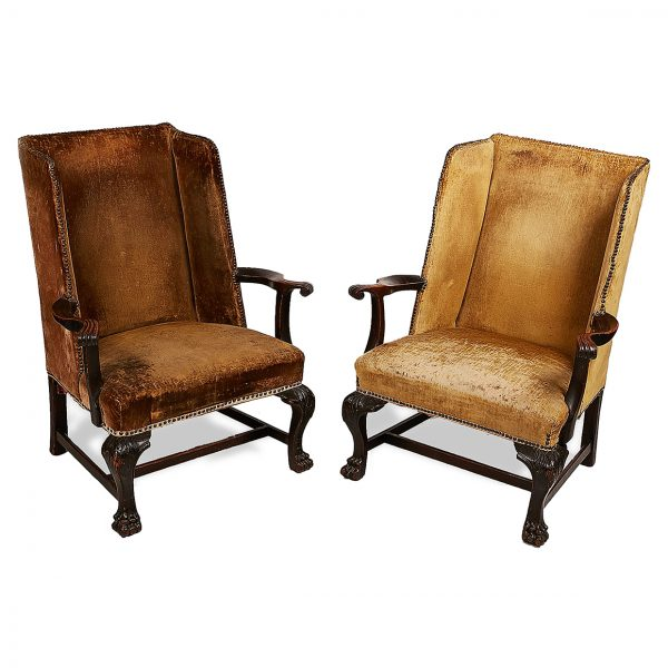 Pair of 18th Century Irish Georgian Mahogany Wing Back Armchairs