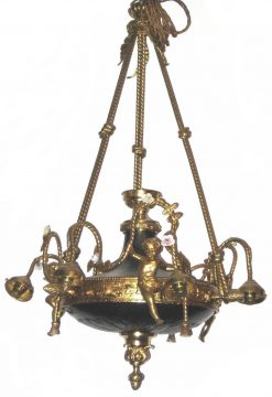 19th Century Regency Pressed Brass Chandelier