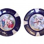 20th Century Pair of Continental Hand Enamelled and Gilt Plates