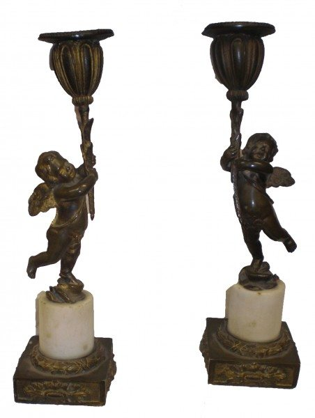 Early 19th Century Regency Pair of Bronze Cherub Candelabra