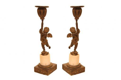 Early 19th Century Regency Pair of Bronze Candlesticks