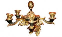 Early 19th Century Regency Pair of Gilt Brass Four Branch Wall Sconces