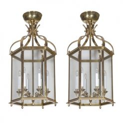 Pair of Brass Hexagonal Lanterns