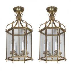Pair of Brass Hexagonal Lanterns