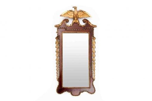 Early 19th Century George III Walnut Parcel Gilt Wall Mirror