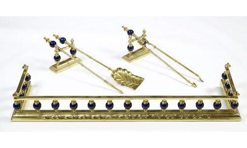 19th Century Blue Ceramic and Brass Fender