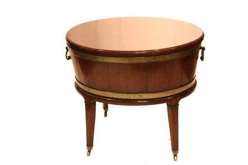 Early 19th Century George III Mahogany Brass Bound Oval Wine Cooler
