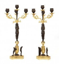 Early 19th Century English Regency Pair Bronze and Gilt Candelabra
