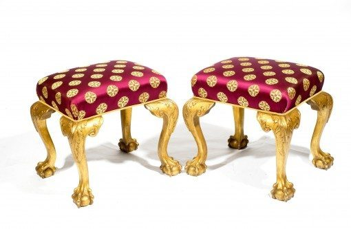 19th Century Regency Pair of Giltwood Chippendale Stools