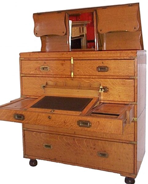 19th Century Oak Military Chest with Writing Interior