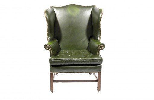 18th Century English Georgian Leather Wing chair