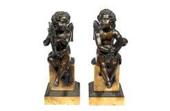 19th Century Bronze Pair of Winged Putti