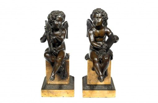 19th Century Bronze Pair of Winged Putti