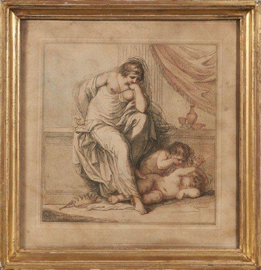18th Century Pair of Mezzotints of Angels with Cherubs