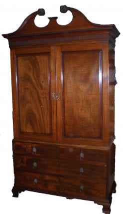19th Century George III Mahogany Linen Press