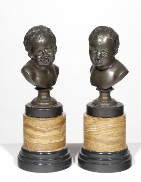 19th Century Pair of Bronze Sculptured Tabletop Busts of Babies