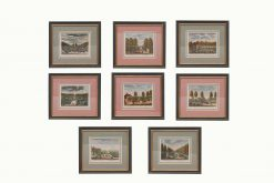18th Century Set of Eight Dutch Hand-colored Engravings of Gardens