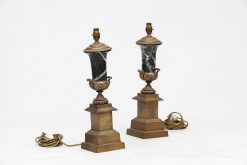 19th Century Brass and Marble Table Lamps