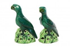 19th Century Pair of Pottery Chinese Parrots