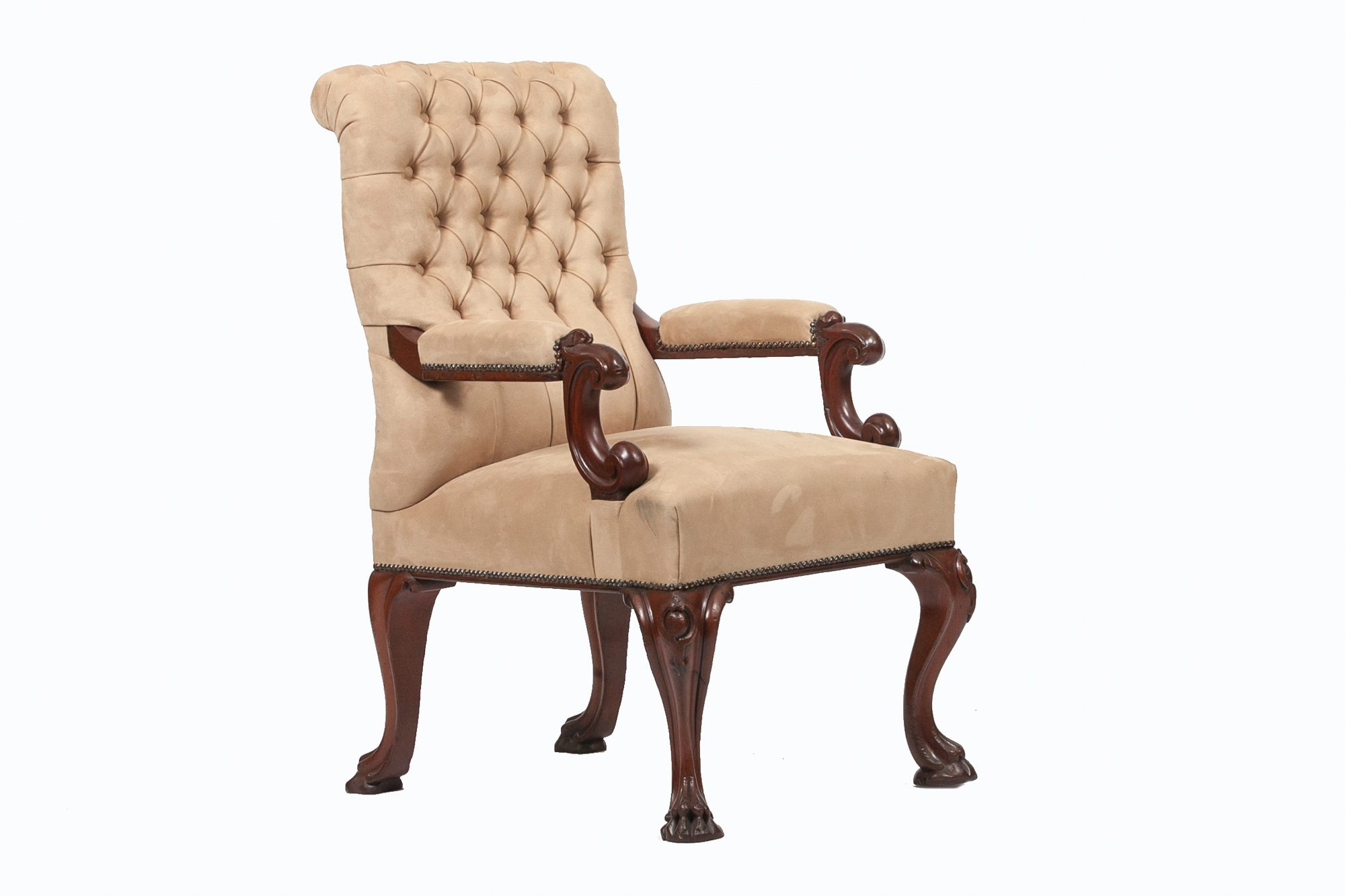 9257 Mid 19th Century Open Button Back Armchair O