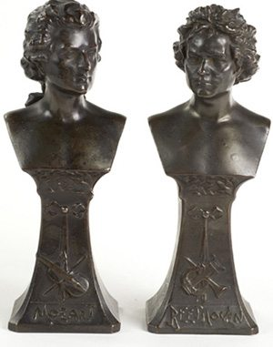 Pair of Art Nouveau Bronze Figures of Beethoven and Mozart