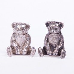 Pair of Edwardian Silver 'Pepper' Teddy Bears